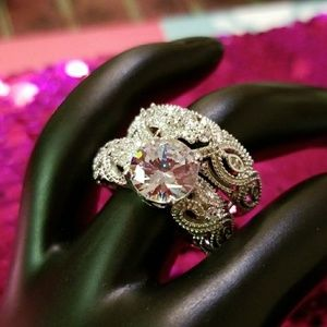 Jewelry - 2-in-1 Women's Ring, New White Gold Filled AAA CZ